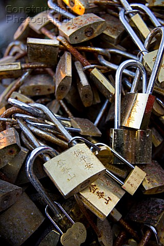 Locks locked together Mount Tai Mt Tai Shandong China
