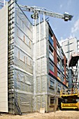 Construction of new modular Pods affordable housing for key workers, Brentford, London, UK