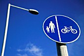 Highway Signs, Cycle path / Pedestrian path, Isle of Anglesey, North west Wales.