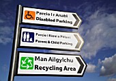 Bilingual signs, Welsh and English, car park, Bangor, North West Wales, UK