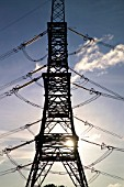 Pylon, Wylfa Power Station, Isle of Anglesey, North West Wales.