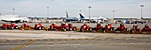 Snow ploughs lined up at JFK Airport