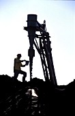 Testing the product standards at a chrome mine South Africa, Rustenburg,1995.