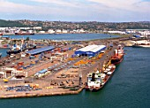 Freight shipments moored at port, South Africa