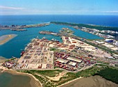 Aerial shot of Durban harbour, South Africa, 2002,