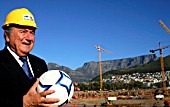 FIFA President Sepp Blatter at the construction site of the Greenpoint stadium, Cape Town, which will host a World Cup semi-final, South Africa