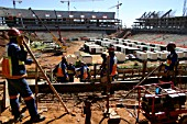 The construction site of Soccer City, near Soweto in Johannesburg, South Africa, which will host the 2010 World Cup final.