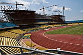 Construction of the new grandstands at The Royal Bafokeng Sports Palace in Phokeng near Rustenburg.  The stadium will be used for 2010 FIFA World Cup Soccer.