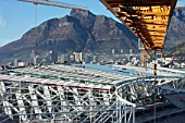A Tower Crane operators view during the spectacular roof installation period at the Cape Town Stadium, South Africa