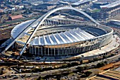 Aerial view of the Moses Mabida Stadium construction site, a venue for various of the FIFA 2010 Soccer World Cup matches
