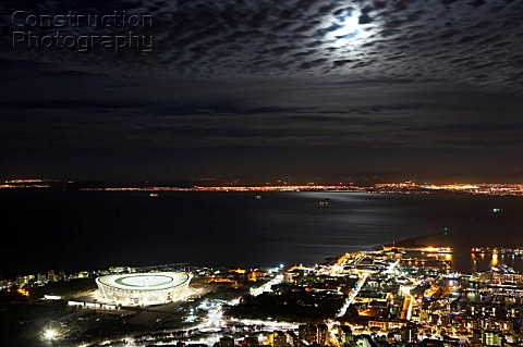 An elevated view of The Cape Town Stadium at night from Signal Hill The Cape Town Stadium will host