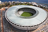 An aerial view of the Cape Town Stadium. The Cape Town Stadium will host some of the matches during the 2010 Soccer World Cup including one of the semi-finals.