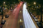 Embankment traffic at night, London, UK