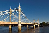 Albert Bridge across River Thames between Chelsea and Wandsworth, London, UK