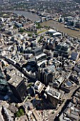 Aerial view of Willis building, City of London & Tower of London