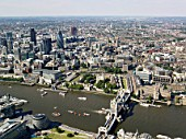 Aerial view of Tower Bridge & City of London, London, UK