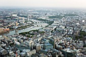 Aerial view from North of Southbank & River Thames, London, UK