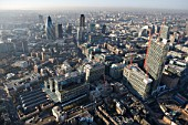 Aerial View of city of London & 201 Bishopsgate construction site