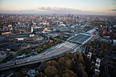 Kings Cross St Pancras stations, London, UK, aerial view