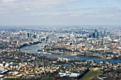 Aerial View of London, River Thames and Tower Bridge in mid distance