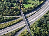 Motorway junction, UK, aerial view