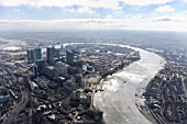 Aerial view of Docklands, River Thames, London, UK