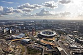 Aerial view of London 2012 Olympic Park. Images taken in November 2011.