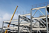 Steel modular framework of construction of a multi-storey car park next to Preston Rail Station, for Network Rail, Lancashire, UK