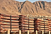 Copper Cathodes Pack on Pallets Of Escondida in The Port Of Antofagasta