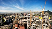 Construction of the mall Costanera Center, Santiago, Chile. It will be the highest Skycraper in South America.