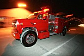Fire Engine In Action By Night In Escondida, Chile