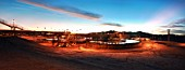 Flotation Tanks by sunset in Escondida the open cast Mine with the highest production in the world