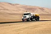 Fuel Truck on Highway From Antofagasta To Escondida Copper Mine, Chile