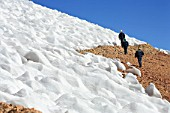 Three Workers Walking Next To A Glacier At 4000 m High At The Andes