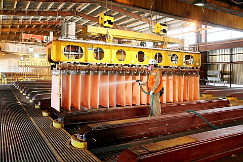 Worker Cleaning Copper Cathodes In Escondidas Electro Winning Shed Chile