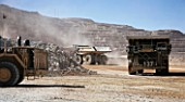 Dumper Trucks in Copper Mine, Escondida- Chile