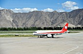 Aircraft taxiing, Lhasa airport, Tibet, China