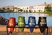 Recycling at the four star Dahab Hilton hotel resort in Dahab in the Sinai Desert in Egypt