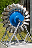 A water turbine wheel at a Hydro Electric Power station in Flims Switzerland