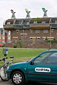 An electric car at Bedzed the UKs largest eco village Beddington London UK