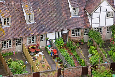 Old houses and back gardens in Tewkesbury  UK