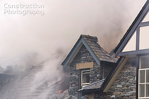 A fire being tackled by firemen in Ambleside UK