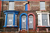 Boarded up houses in the Kensington area of Liverpool UK