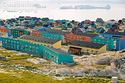 Colourful houses in Illulisat on Greenland Ilulissat is a UNESCO World Heritage Site because of the