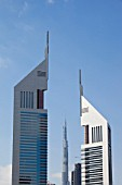 The Burj Dubai, the worlds tallest building seen through the Emirates Towers in Dubai, middle East,