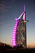 The iconic Burj al Arab hotel in Dubai, UAE