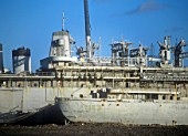 The ghost ships in a dismantling yard in Hartlepool, UK. These 2nd world war American naval vessels are highly contaminated, and bringing them to the UK for dismantling is controversial.