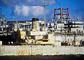 The ghost ships in a dismantling yard in Hartlepool, UK. Thes 2nd world war American naval vessels are highly contaminated, and bringing them to the UK for dismantling is controversial.