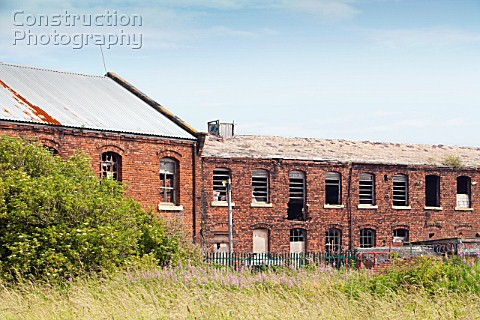 Derelict industrial buildings in Barrow in Furness Cumbria UK