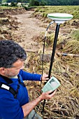 A differential GPS being used in real time kinematic survey, to survey the extent of the Durham canyon flooding feature, UK.